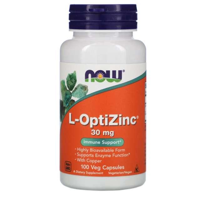 Now Foods L-OptiZinc 30mg 植物カプセル 100粒