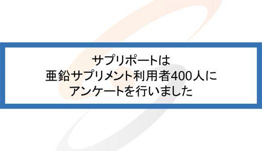 亜鉛サプリメントの利用者400人に効果、摂取量を聞きました!